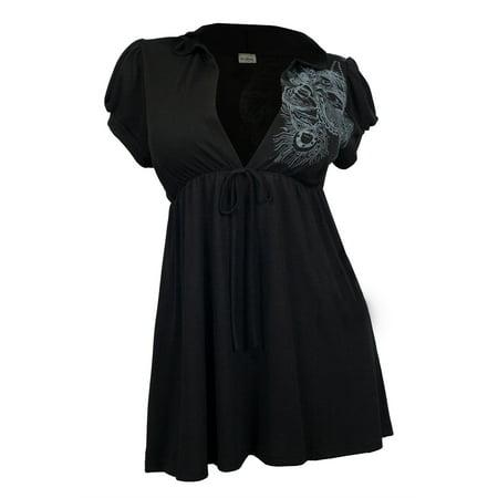 4608e60d1f9 eVogues Plus size Black Low cut v-neck Hoodie top - Walmart.com