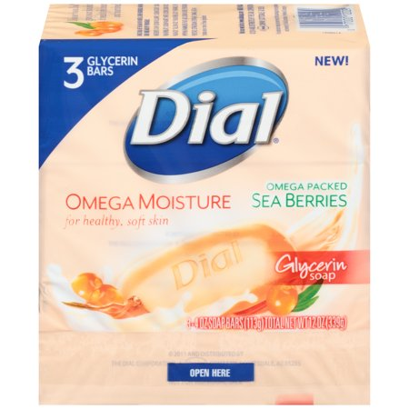 Dial Glycerin Bar Soap, Omega Moisture, 4 Ounce Bars, 3 Count - Glycerin Soap Slice
