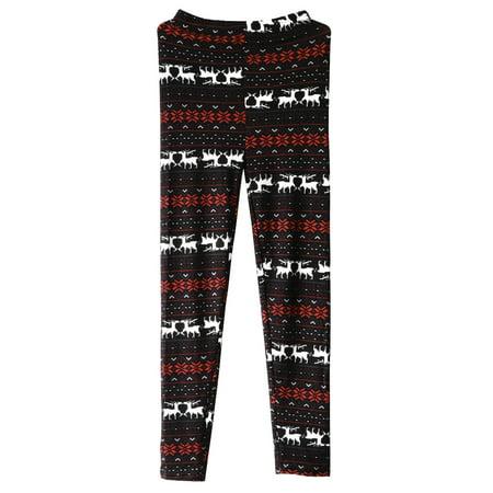 Women Leggings Snowflake Elk Printed Stretchy Leggings Pants for Autumn Winter Free Size (Color 7)