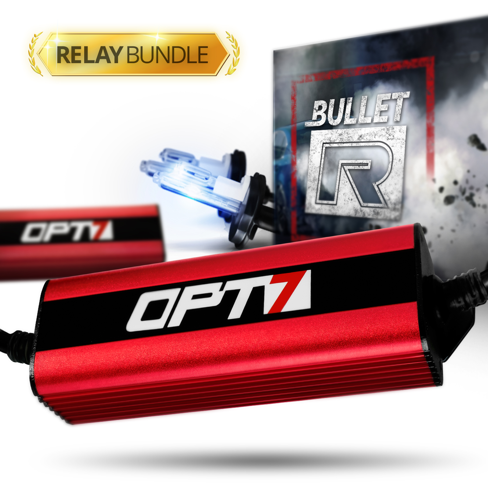Bullet-R H11 (H8, H9, H16) HID Kit - Relay Bundle - All Bulb Sizes and Colors - 2 Yr Warranty [6000K Lightning Blue Xenon Light]