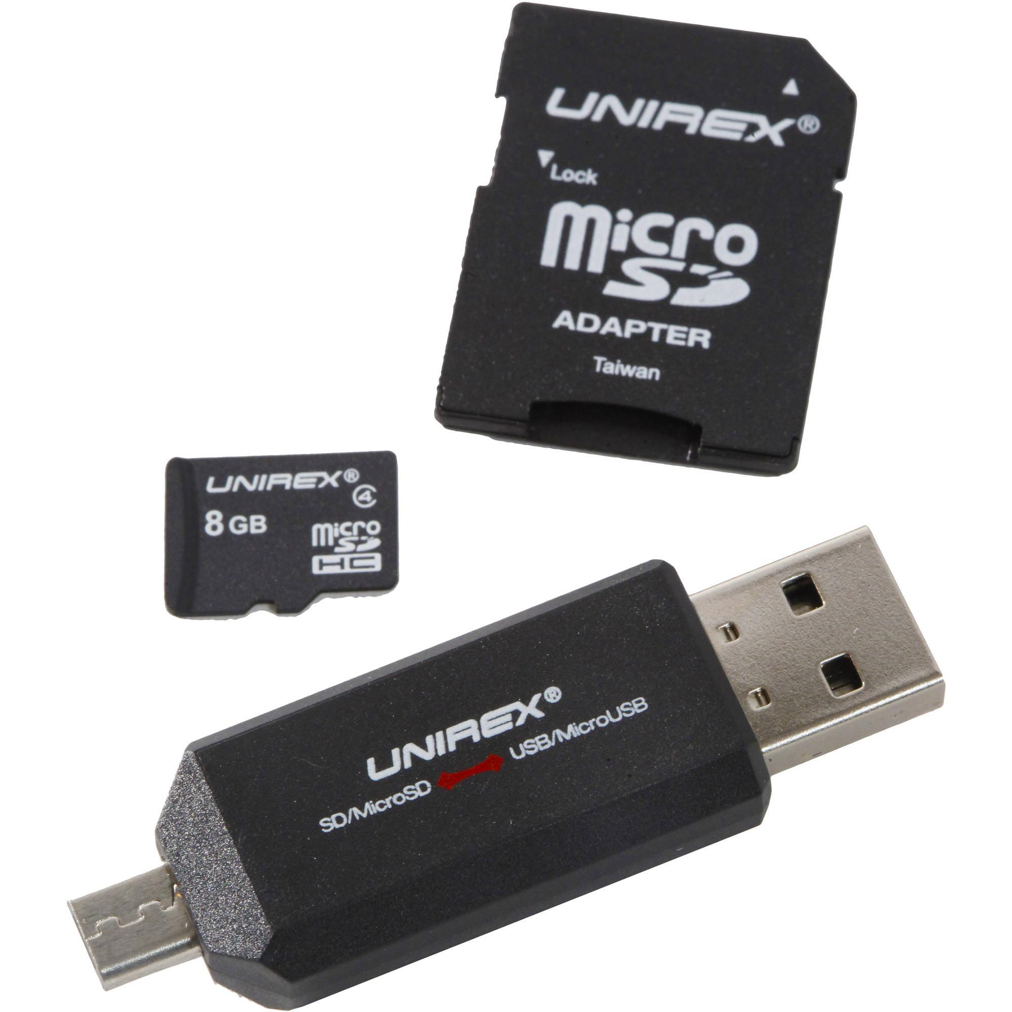 Unirex microSD 8GB Class 4 with USB/microUSB Reader