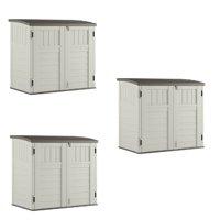 Suncast 3 Door Locking System Horizontal Storage Shed Stow Away, Ivory (3 Pack)