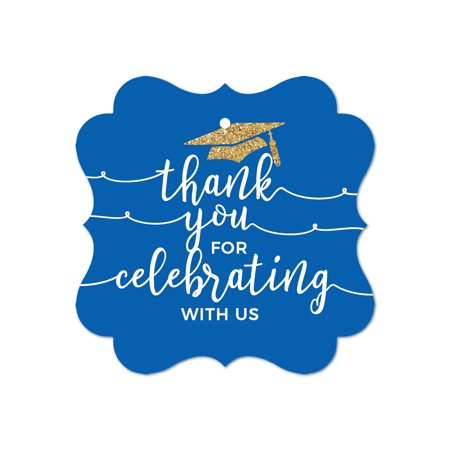 Royal Blue and Gold Glittering Graduation, Fancy Frame Gift Tags, Thank You for Celebrating With Us, 24-Pack - Thank You Tags