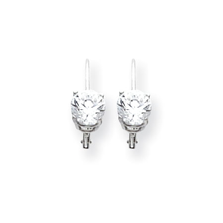 14K White Gold 6mm Cubic Zirconia Leverback Dangle Earrings (White Gold Cz Leverback Earrings)