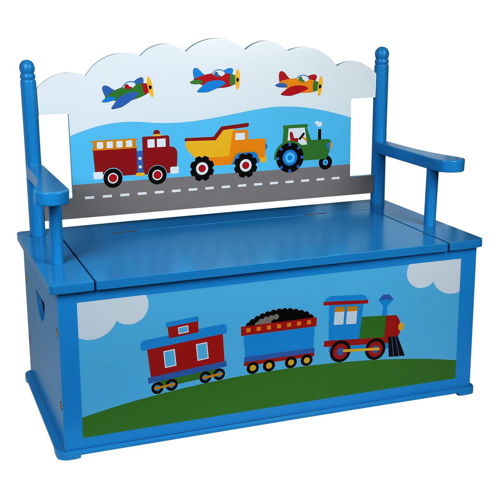 Olive Kids Trains, Planes, Trucks Bench Seat with Storage