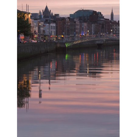 River Liffey at Dusk, Ha'Penny Bridge, Dublin, Republic of Ireland, Europe Print Wall Art By Martin (Best Bridge Pins For Martin)