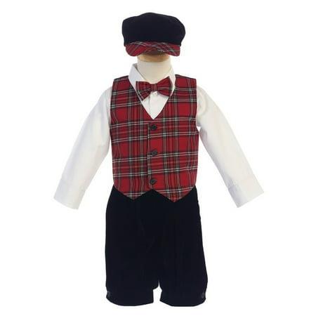 Lito Little Boys Red Black Plaid Pattern Vest Velvet Knicker Set Outfit 2-4T