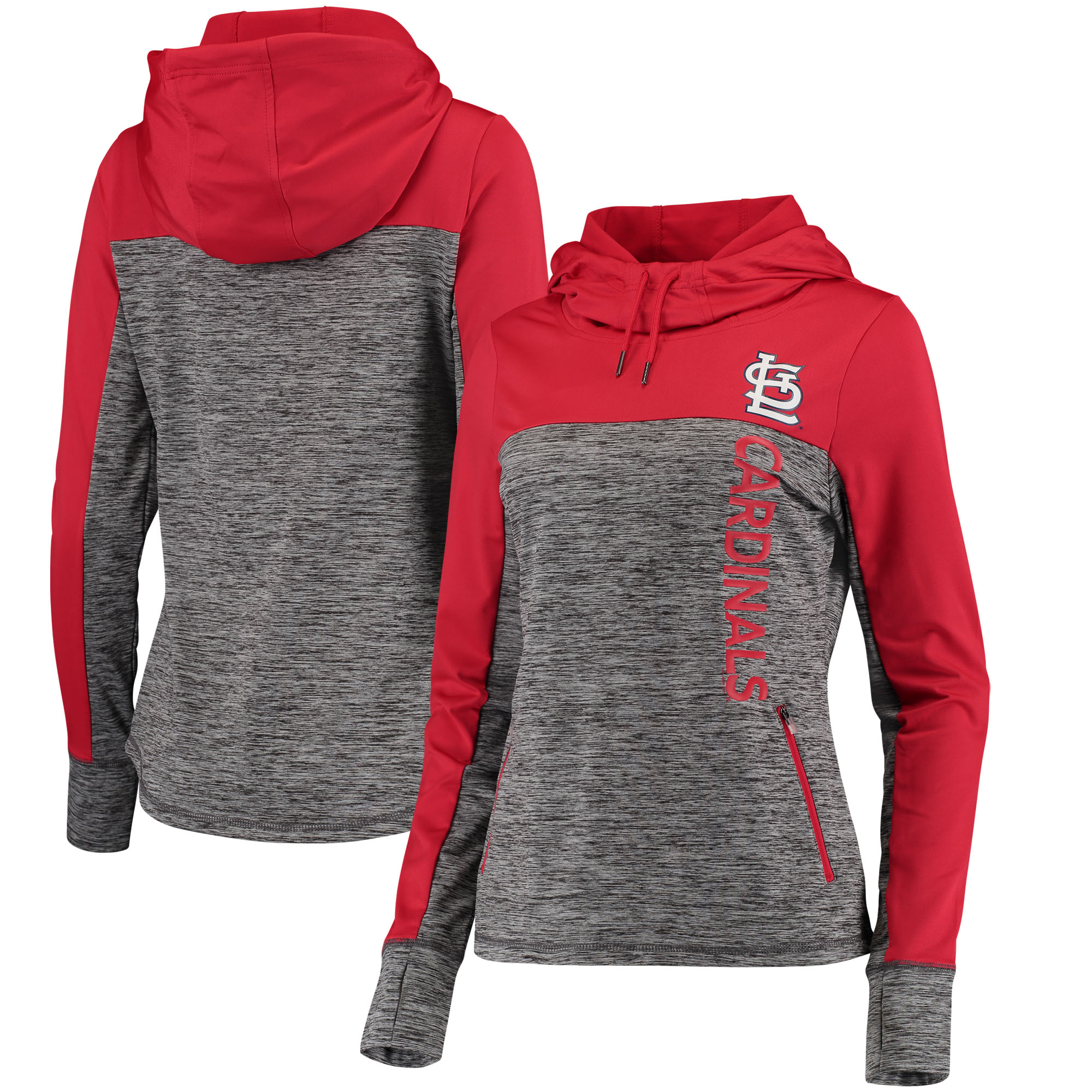 Women's G-III 4Her by Carl Banks Heathered Gray/Red St. Louis Cardinals Sideline Pullover Hoodie