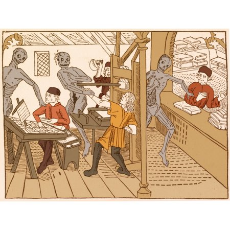 Danse Macabre 1499 Rolled Canvas Art - Science Source (24 x 18) - Macabre Halloween Art