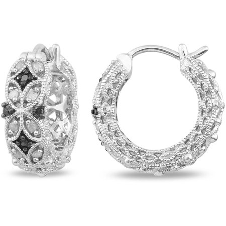 1/6 Carat T.W. Black and White Diamond Sterling Silver Clip-In Hoop Earrings