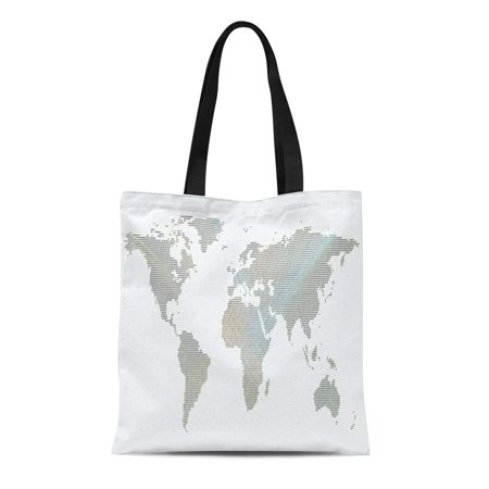 ASHLEIGH Canvas Tote Bag Colorful Dotted World Map Abstract Waves Lines Bright Color Durable Reusable Shopping Shoulder Grocery Bag Colorful World Color Line