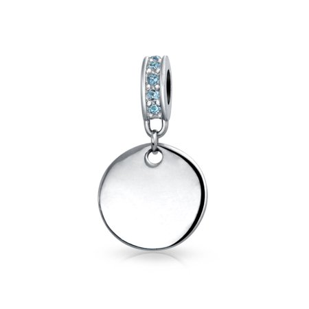 Simulated Blue Topaz Crystal Disc Dangle Bead Charm 925 Sterling Silver