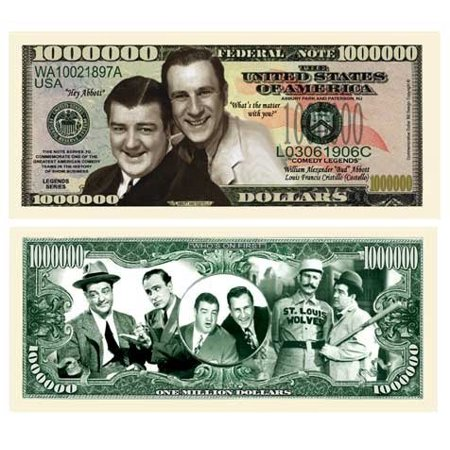 Abbott And Costello Million Dollar Bill With Bill Protector, Fake Money! By American Art Classics ()