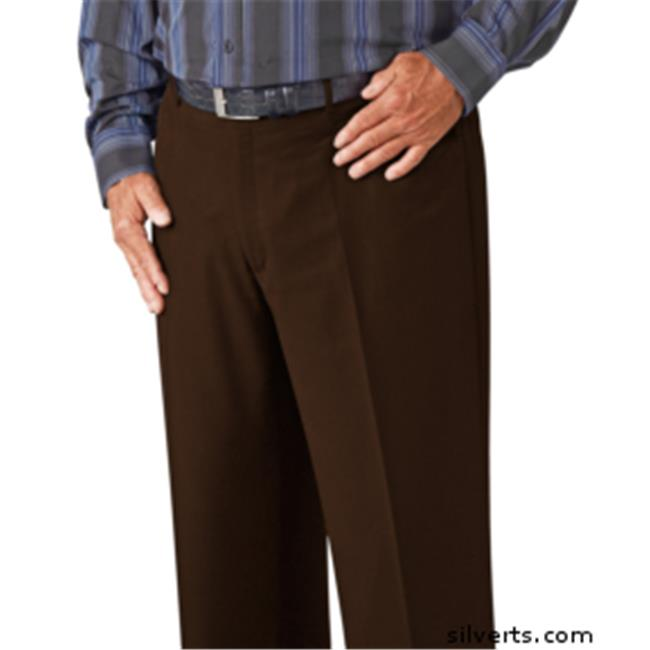Silverts 501900404 Regular Washable Mens Dress Pant - Easy Care Trousers - 34, Brown