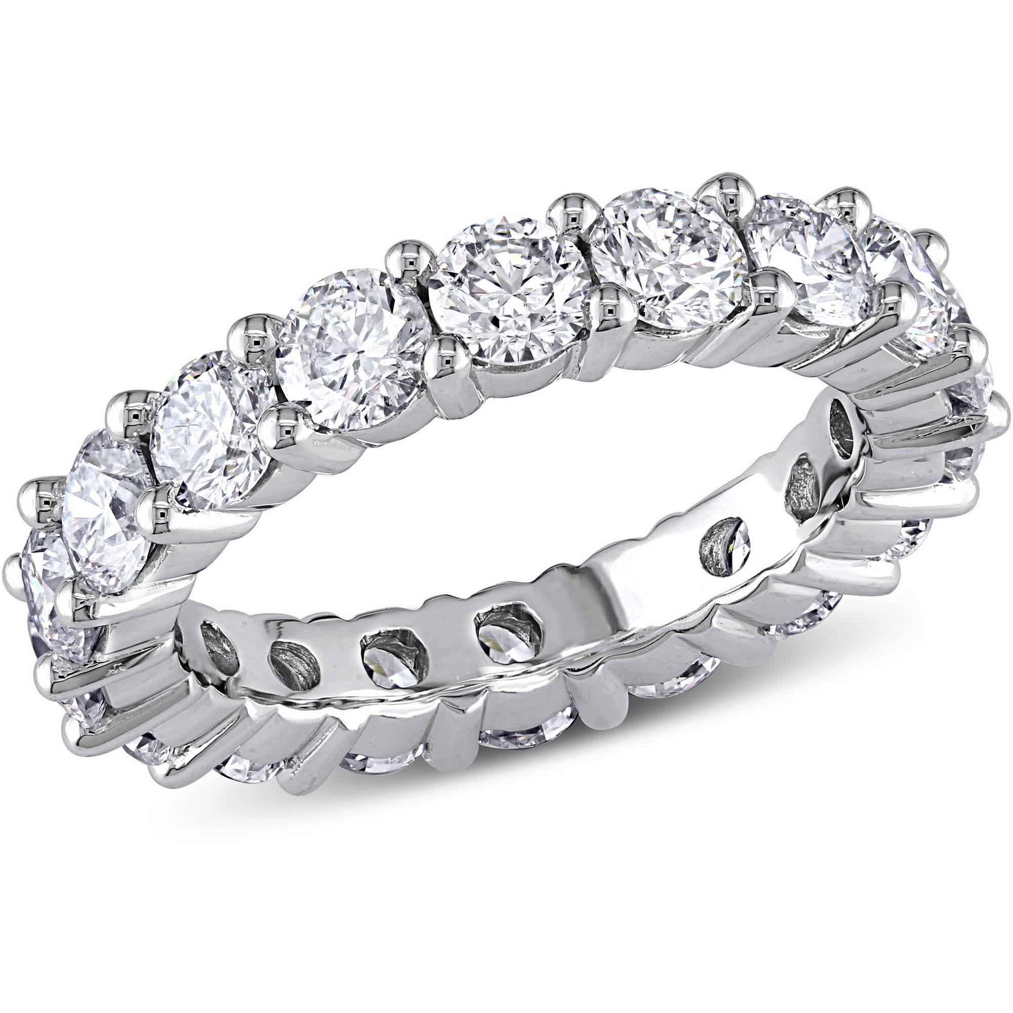 Miabella 3 Carat T.W. Diamond 14kt White Gold Semi-Eternity Anniversary Ring