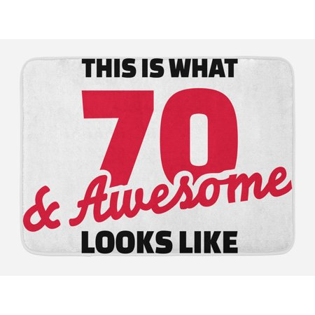 70th Birthday Bath Mat, Motivational Quote Seventy and Awesome Birthday Celebrations, Non-Slip Plush Mat Bathroom Kitchen Laundry Room Decor, 29.5 X 17.5 Inches, Dark Coral Black and White, Ambesonne