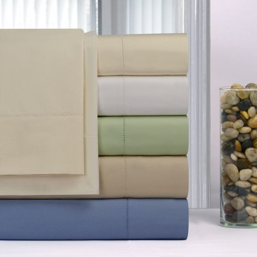 Pointe Haven 600 Thread Count Pima Cotton Deep Pocket Hemstitch Sheet Set Queen