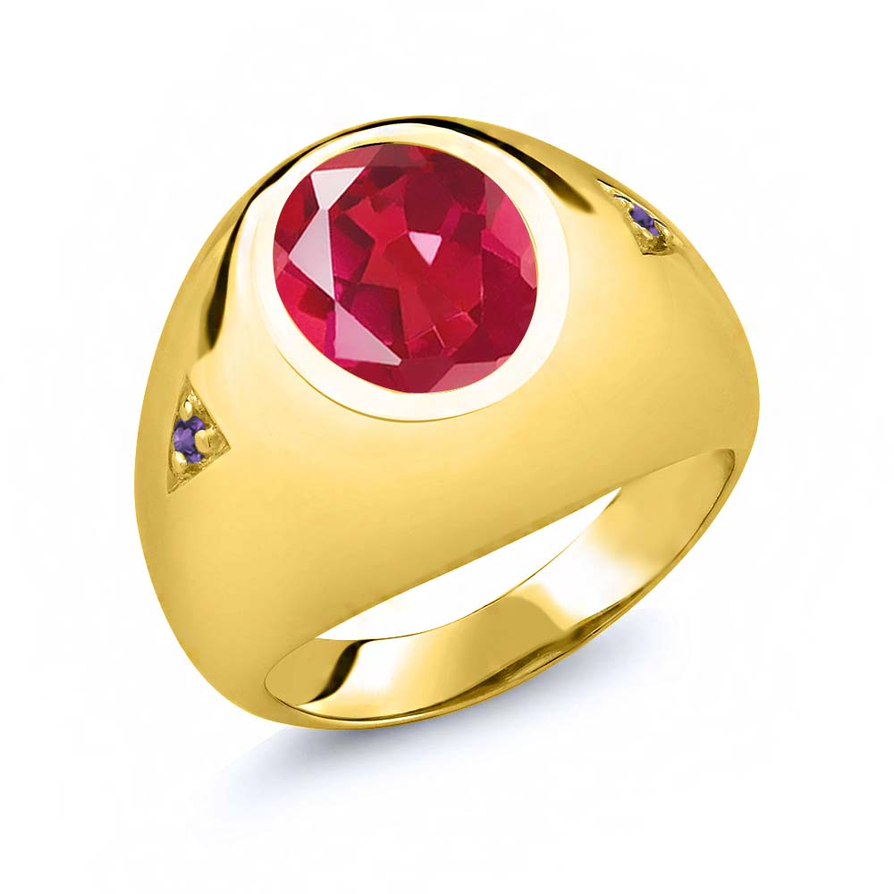 4.08 Ct Last Dance Pink Mystic Quartz Purple Amethyst 18K Yellow Gold Plated Silver Men's Ring by