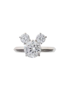 Mickey Mouse Sterling Silver Cubic Zirconia Ring, Size 7
