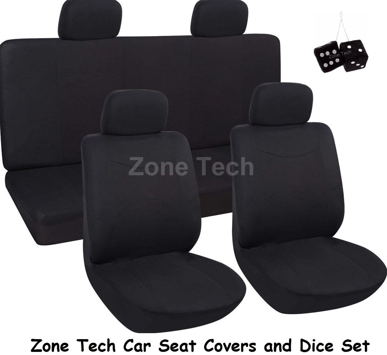 Zone Tech Universal Fit Premium Quality Luxury Interior D��cor Cloth Full Set of Solid Black Seat Covers+ Pair of Classic Black Plush Hanging Fuzzy Dice Set