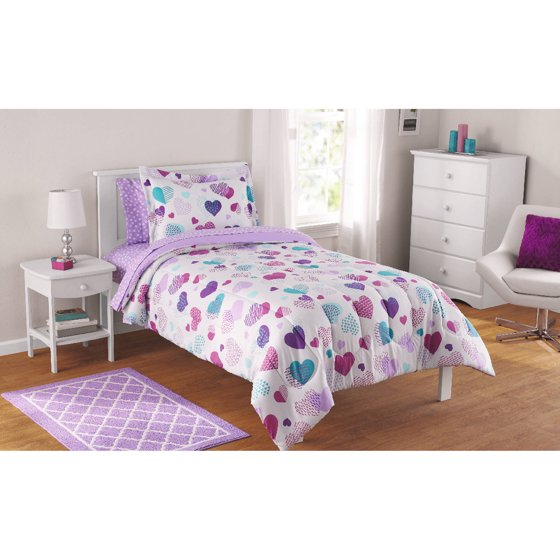 mainstays kids hearts bed in a bag complete bedding set. Black Bedroom Furniture Sets. Home Design Ideas