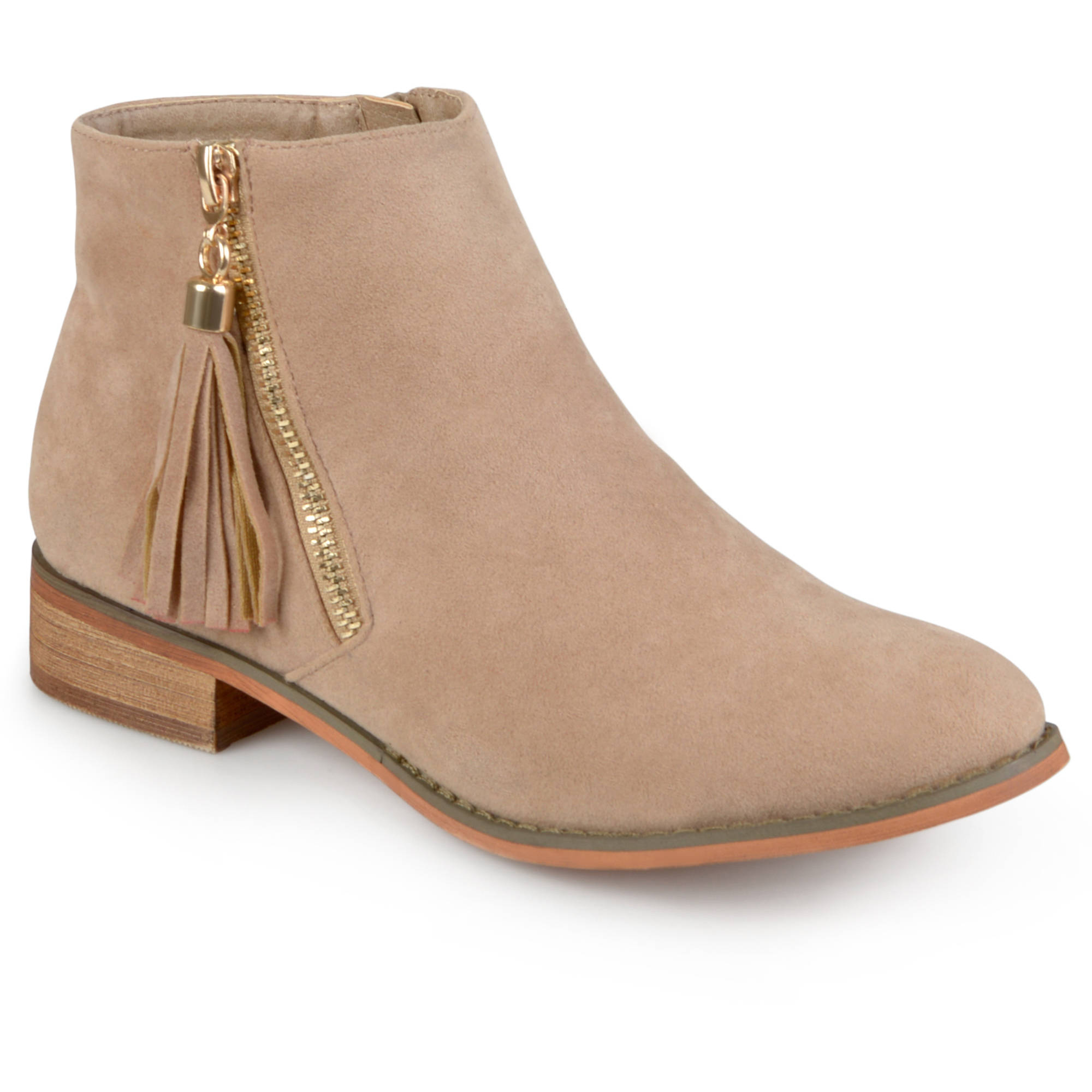 Brinley Co. Womens Side Zip Faux Suede Ankle Boots - Walmart.com