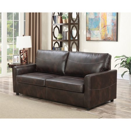 Pemberly Row Newton Coffee Queen Faux Leather Sleeper Sofa
