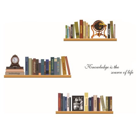 Room Decor DIY Removable Bookshelf Book Wall Sticker Decal for Essenti