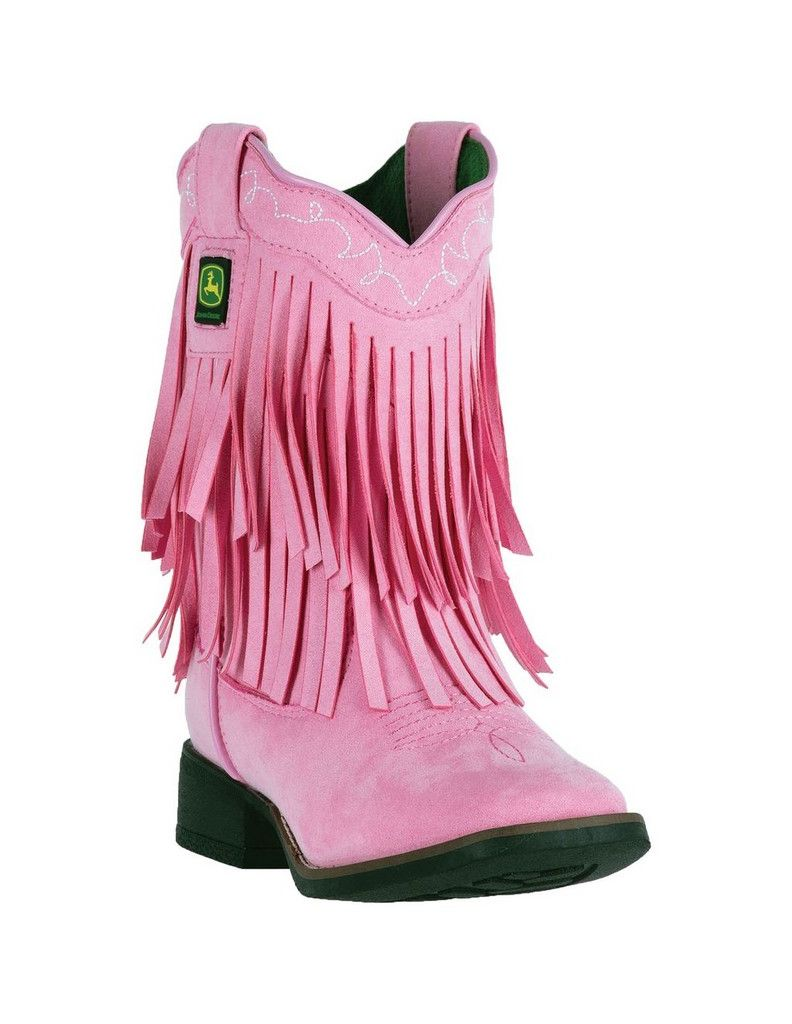 John Deere Western Boots Broad Girls Kids Micro Fringe Broad Boots Toe Pink JD2028 f8ff4c