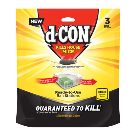 d-CON Disposable Corner Fit Mouse Poison Bait Station, 3 Bait