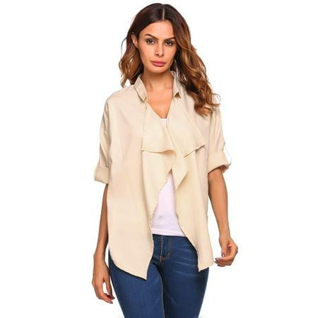 3/4 Sleeve Open Cardigan - Women's Roll Up 3/4 Sleeve Open Front Draped Solid Irregular Hem Cardigan Coat HITC