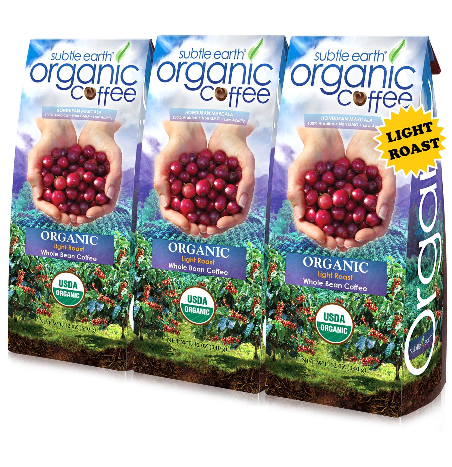 (3 Pack) Subtle Earth Organic Light Roast Whole Bean Coffee, 12 oz
