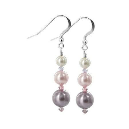 Multi Stone Dangle - Gem Avenue 925 Sterling Silver Multi Simulated Pearl Dangle Earrings