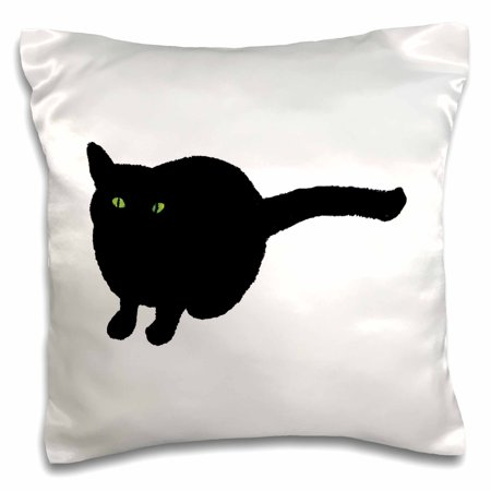 3dRose Painting of a Black Cat with Green Eyes for Halloween, Pillow Case, 16 by - Cat Painting For Halloween