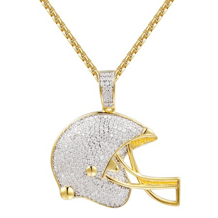 Simulated Diamond Drop Necklace (Football Helmet Pendant 14k Gold Finish Sterling Silver Simulated Diamond Necklace Set )