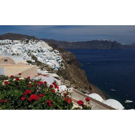 Canvas Print Island Greece Blue Volcano Santorini Sea Travel Stretched Canvas 10 x (Best Month To Travel To Santorini Greece)