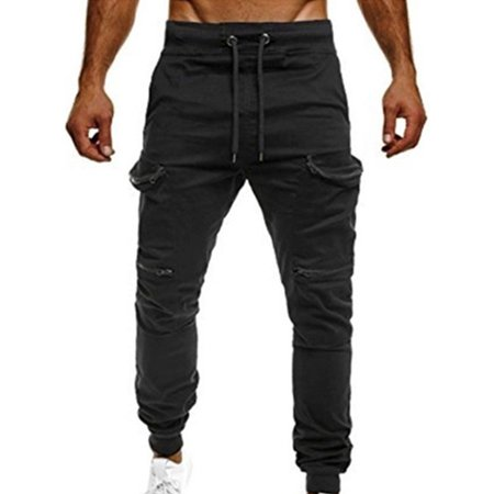 Men's Sports Camo Harem Jogging Stretchy Pockets Drawstring Gym Pants (Harem Pants For Men)