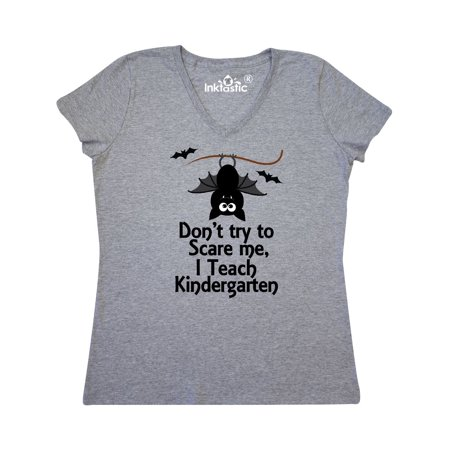 Kindergarten Teacher Dont Scare Me Halloween Women's V-Neck - Short Halloween Poems For Kindergarten