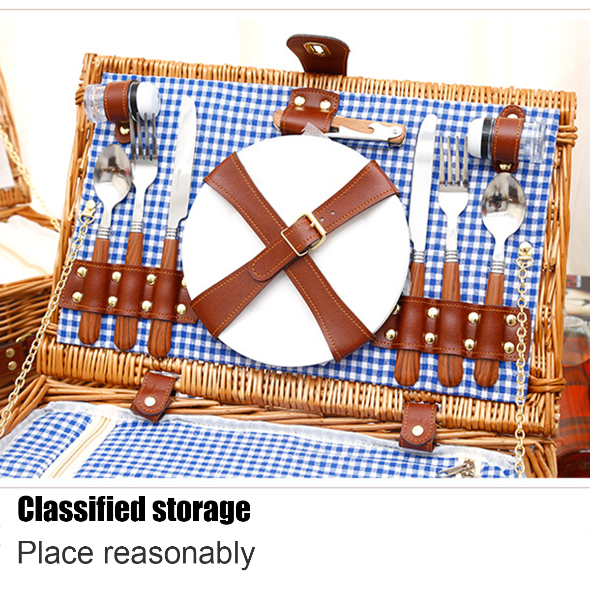 US Outdoor 2 Person Insulated Picnic Basket Wicker Basket Camping Willow Handbag