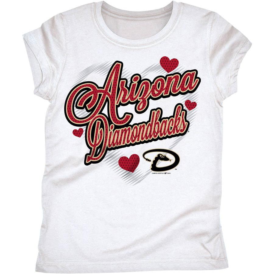 MLB Arizona Diamondbacks Girls Short Sleeve White Graphic Tee