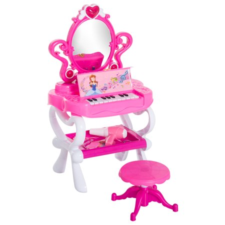 Qaba 2-In-1 Kids Piano Vanity Table Stool Princess Pretend Play Set with Lights, Sounds, and Accessories - Pink/White