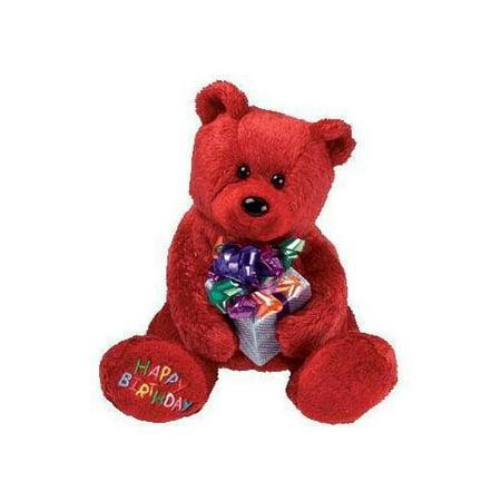 TY Beanie Baby - HAPPY BIRTHDAY the Bear ( Red - w/ Present ) (7 - Birthday Beer