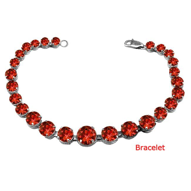 Fine Jewelry Vault UBBRBK7205AGGR Sterling Silver Garnet Prong Set Bracelet 10 CT TGW- January Birthstone Jewelry by Fine Jewelry Vault