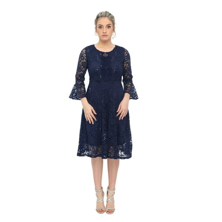 486b5c24 SleekTrends - SleekTrends Womens Sequin Lace Bell Sleeve Fit and flare  Party Dress - Walmart.com