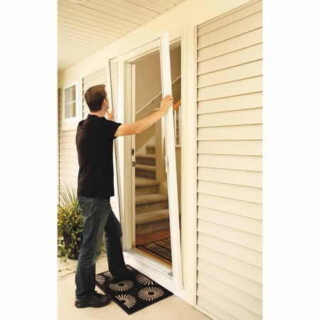 Odl brisa white tall retractable screen for 96 inswing for Retractable screen door for outswing door