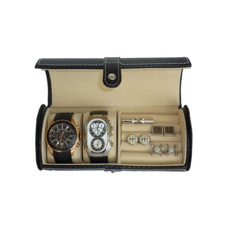 2 Watch Travel Roll Men's Storage Case for Watches, Cufflinks, and Rings (Watch Travel Roll)