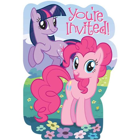 My Little Pony Friendship is Magic Birthday Girl Party Invitation 16 Count Save the Date Stickers - Little Girls Birthday Party
