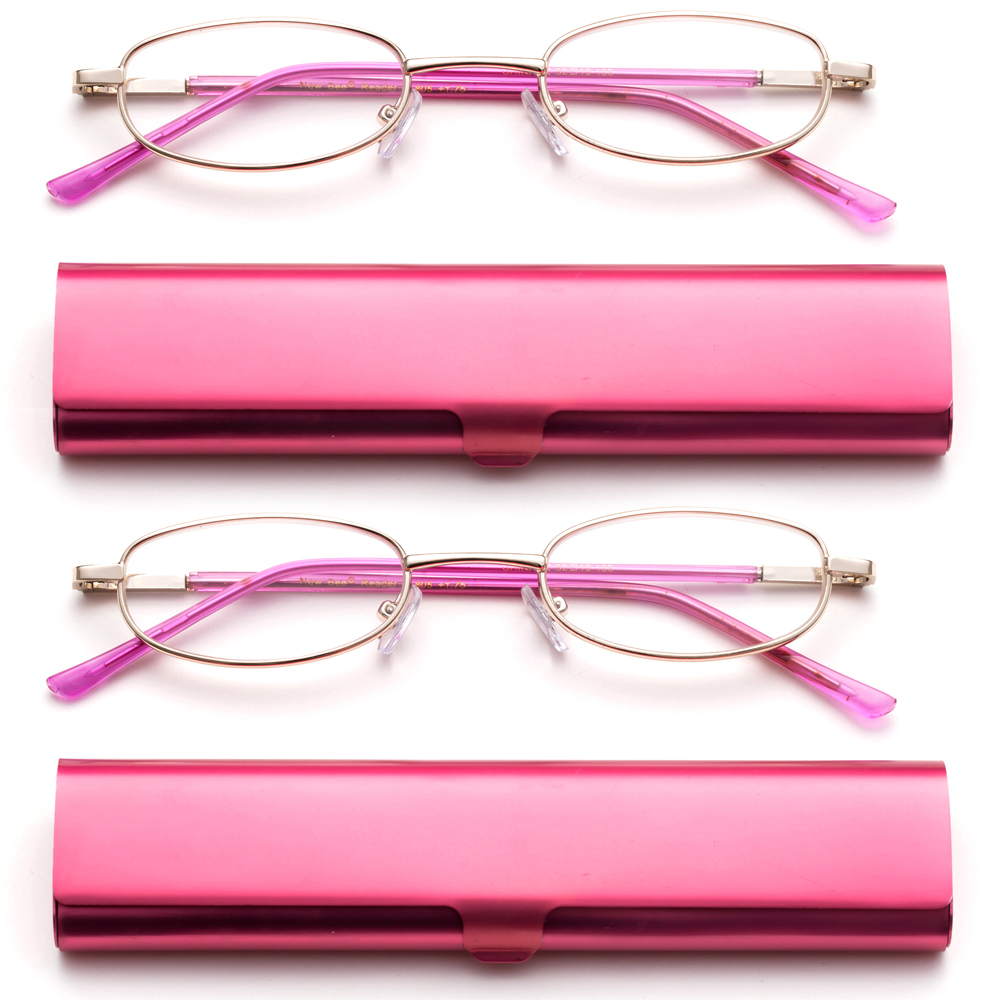 Newbee Fashion-Portable Compact Reading Glasses in Aluminum Case Metal Oval Shaped Reading Glasses with Spring Hinge in Portable Compact Case Lightweight Reader Slim Design Comfort fit