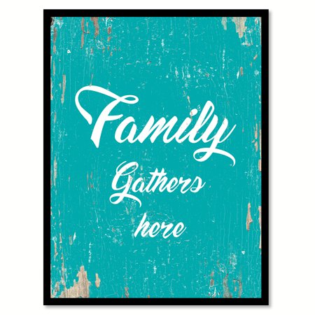 Family gathers here Happy Quote Saying Aqua Canvas Print with Picture Frame Home Decor Wall Art Gift Ideas 13