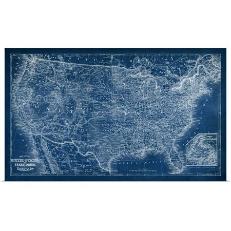 Great BIG Canvas | Rolled Vision Studio Poster Print entitled US Map Blueprint